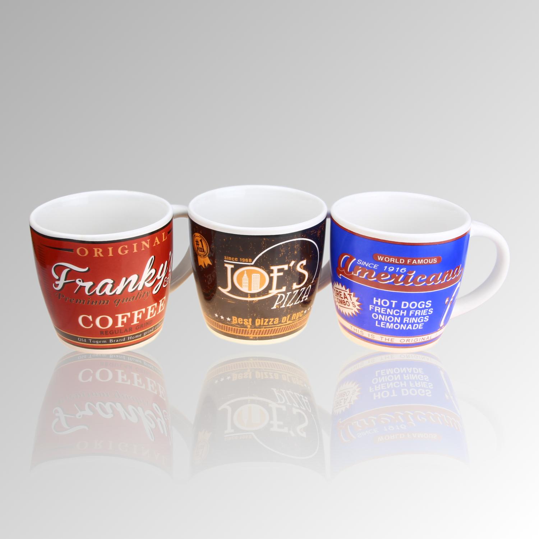 porzellan kaffeebecher henkeltasse tassen cappuccino set versch design ebay. Black Bedroom Furniture Sets. Home Design Ideas